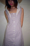 Garden Gingham Square Neck Dress - Dusty Lilac & White