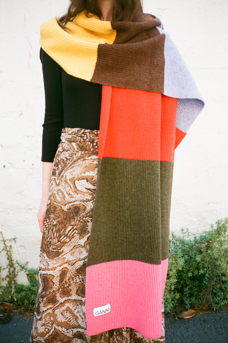 Knit Color Blocked Scarf - Rainbow