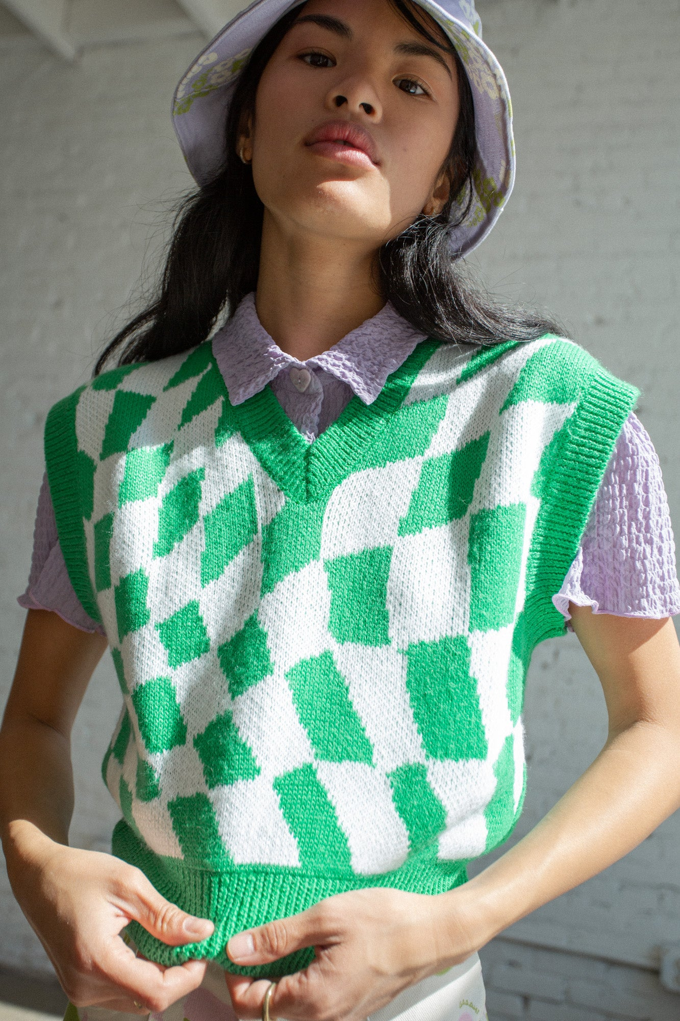 Vera Sweater Vest - Green Warp Check
