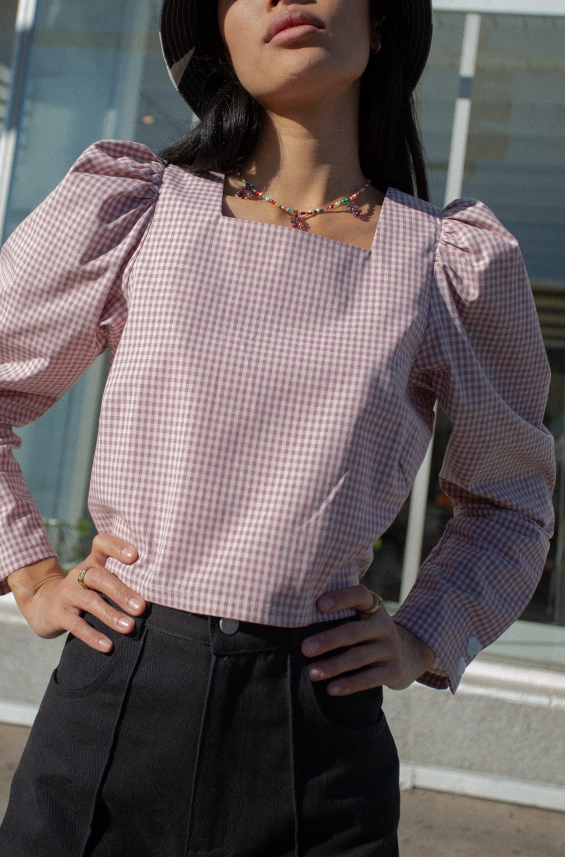 Maddie Long Sleeve Top - Violet Gingham