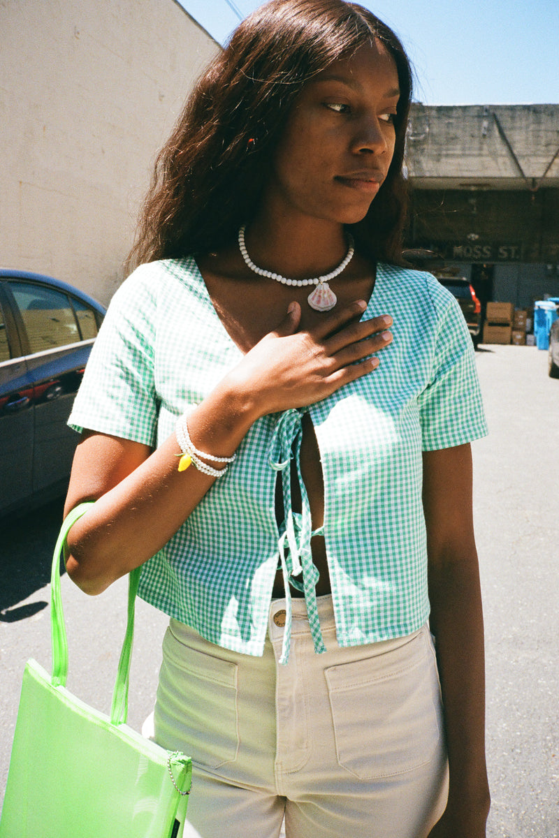 Capri Top Short Sleeve - Mint Gingham