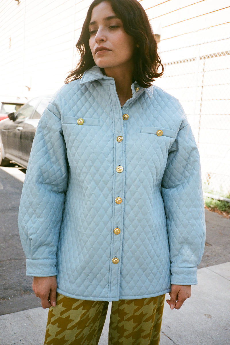 Mid-Century Quilt Shirt - Blue Wave