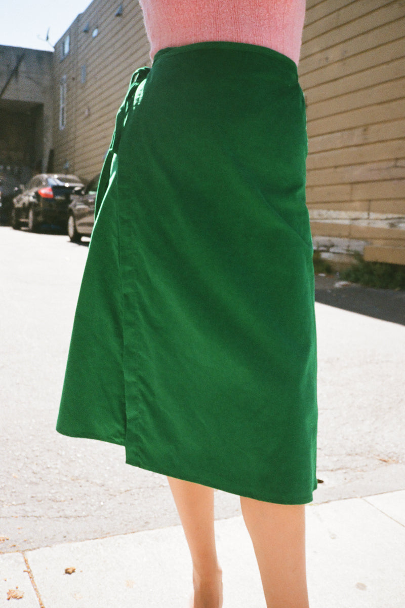 Capri Wrap Skirt - Emerald Corduroy