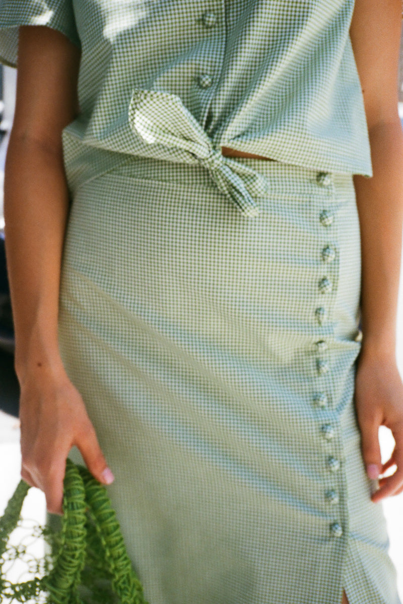 Side Button Midi Skirt - Green Gingham