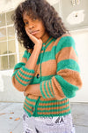 Cardigan w/ Gathers at Shoulder - Green/Brown