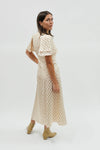Zip Detail Long Dress - Cream/Sienna