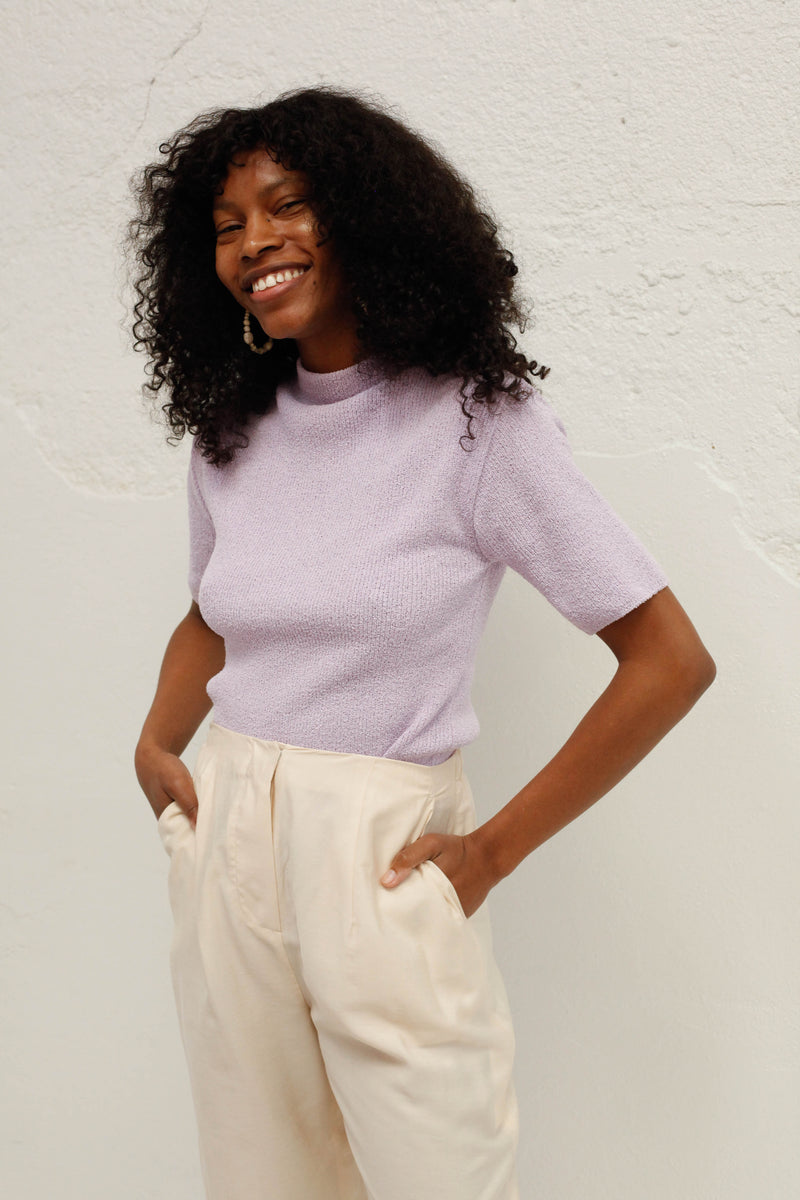 Crop Knit Top - Lilac