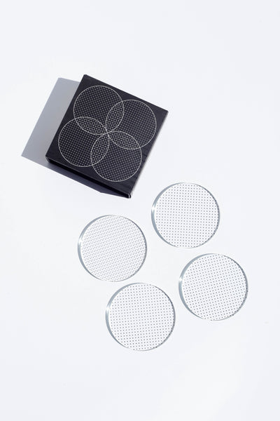 Glass Grid Coasters - Dot
