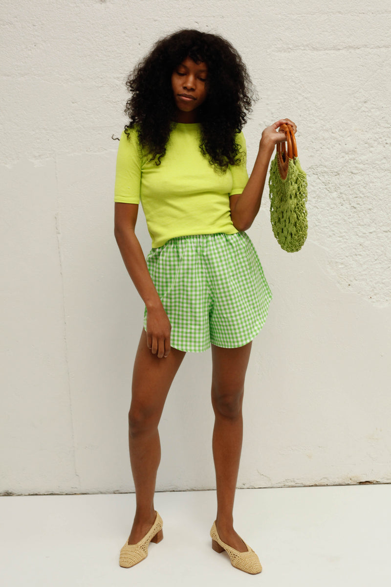 Capri Short - Green Gingham