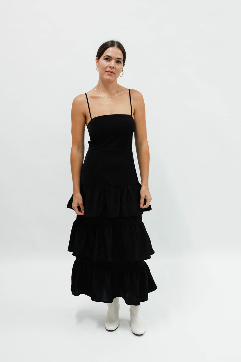 Conner Tiered Dress - Black