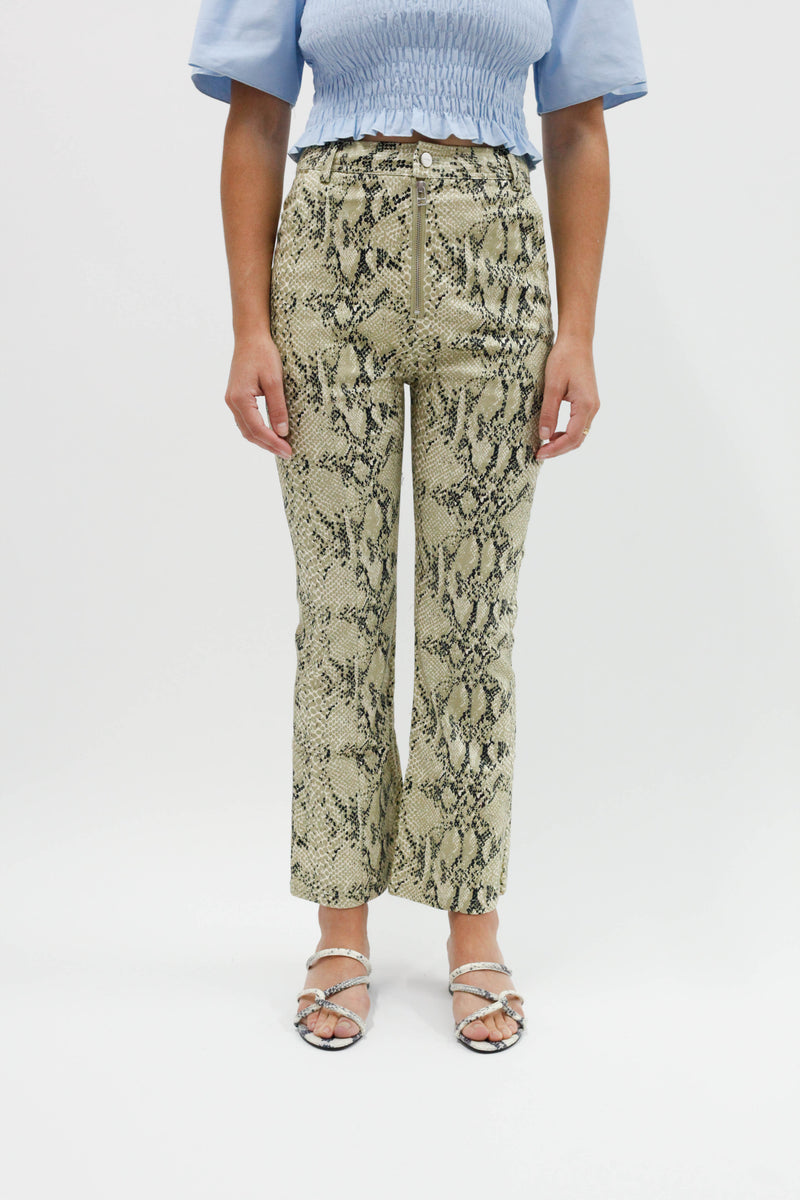 Graham Kick Flare Pants - Python Denim