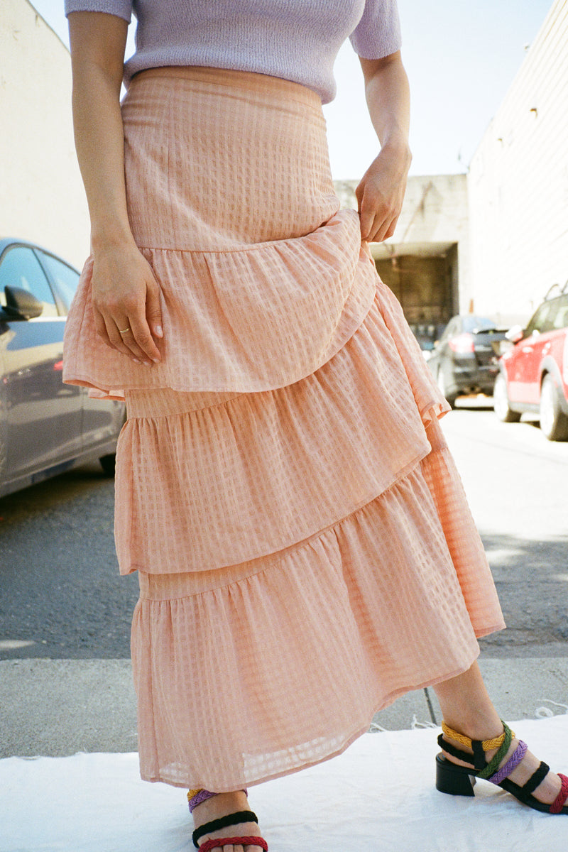 Lalaine Tiered Skirt - Peach Grid