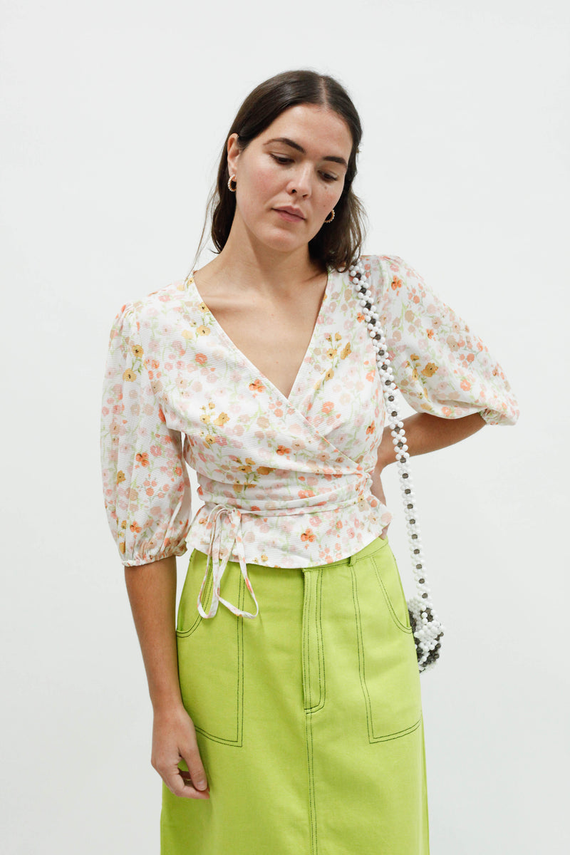 Salsa Wrap Top - Pansy Floral