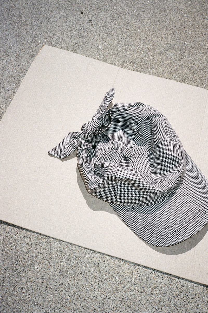Tie Baseball Cap - Black & White Houndstooth