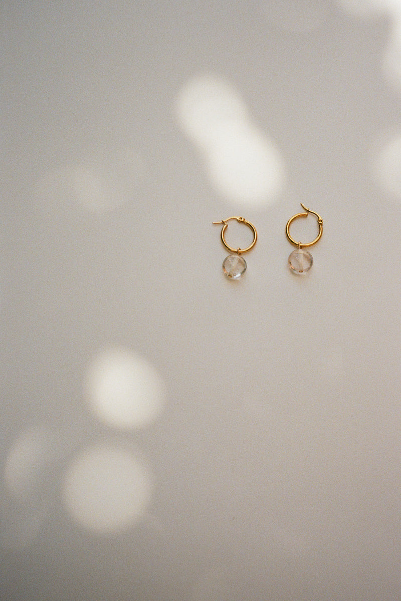 Crystal Hoops - Gold