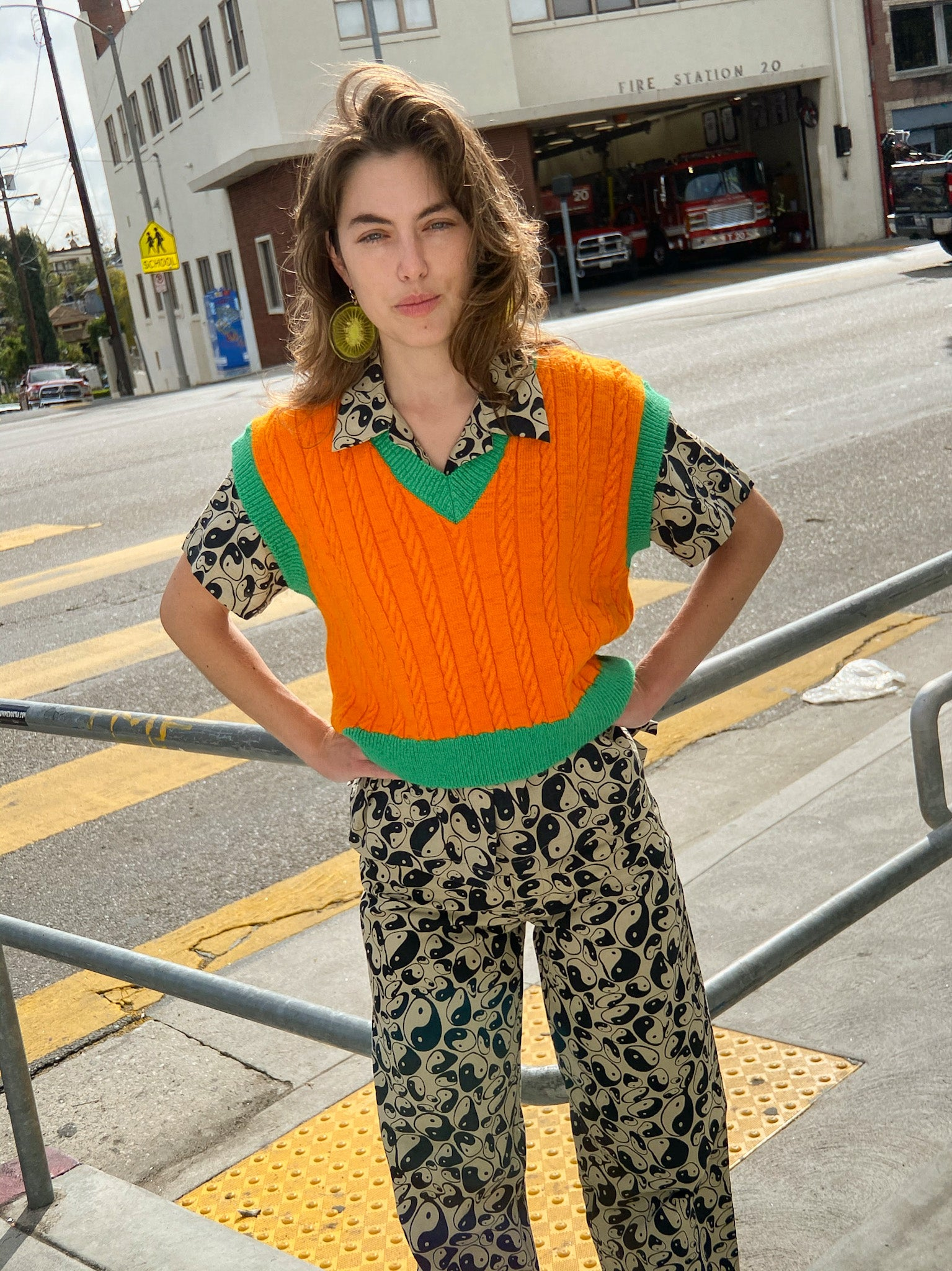 Eva Sweater Vest - Orange/Green
