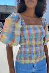 Seersucker Check Blouse - Multicolor