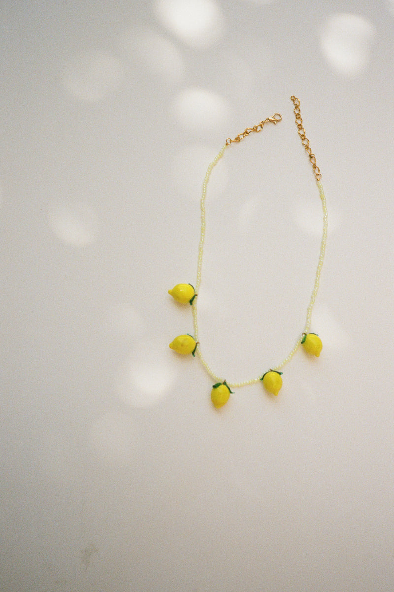 Glass Lemon Necklace