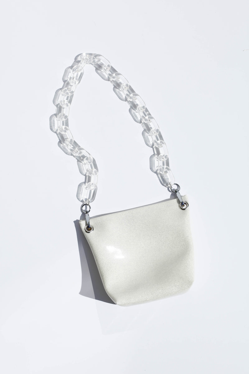 Ziggy Bag W/ Clear Handles - Cream Glitter