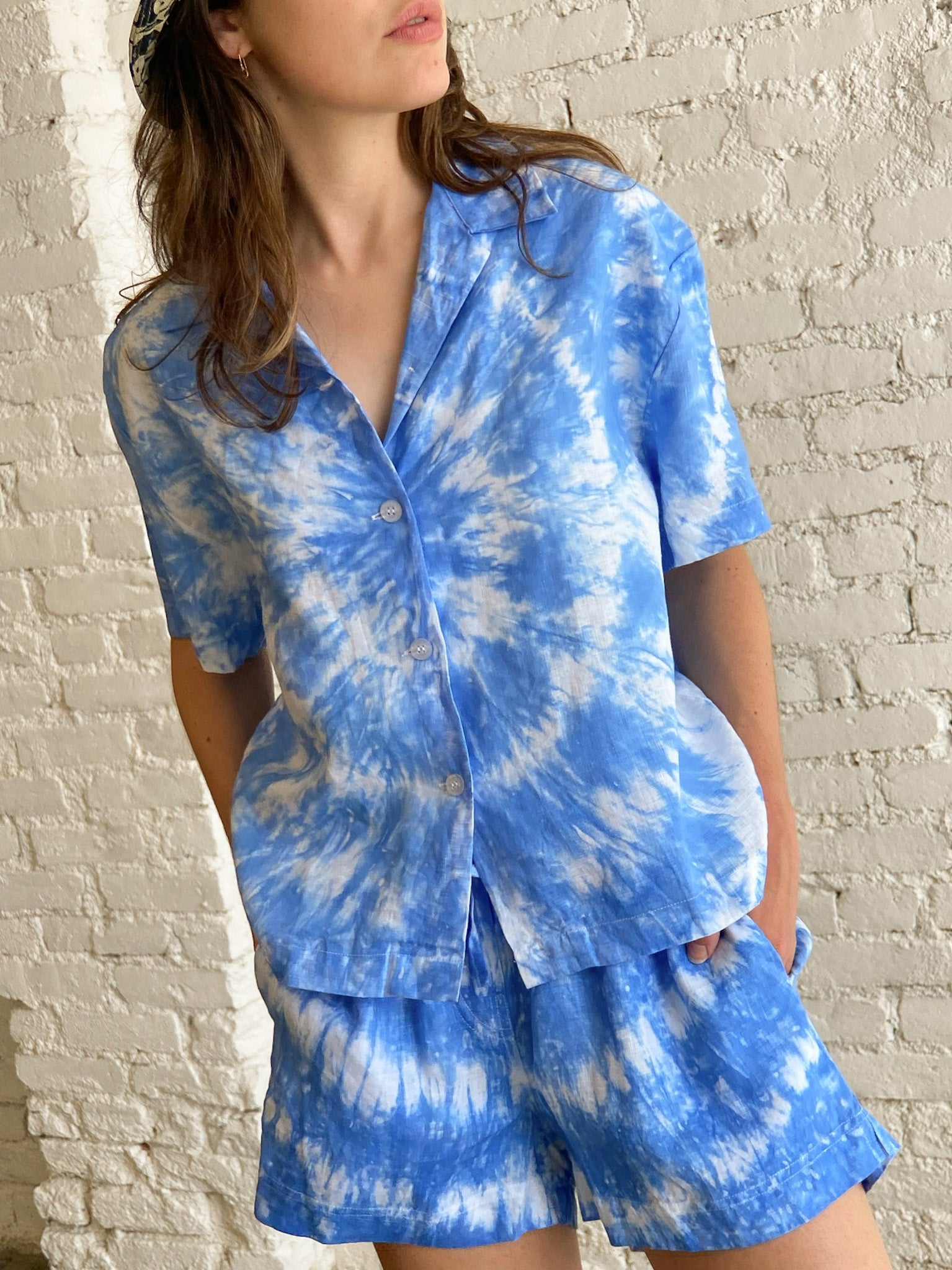 Pyjama Linen Short Set - Blue Tie Dye