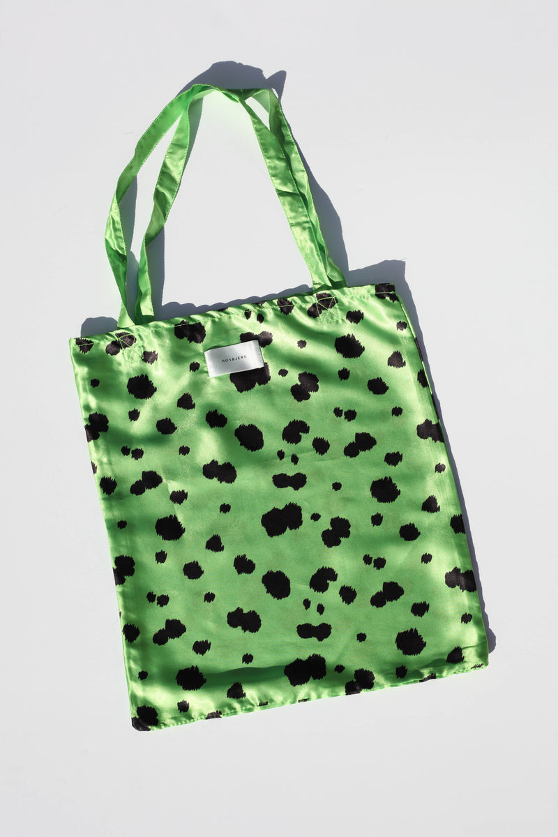 Dalmation Satin Bag - Lime Green