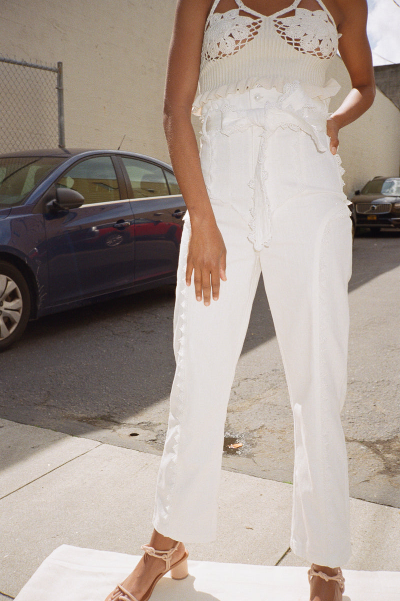 Paper Bag Prairie Trousers - Pearl White