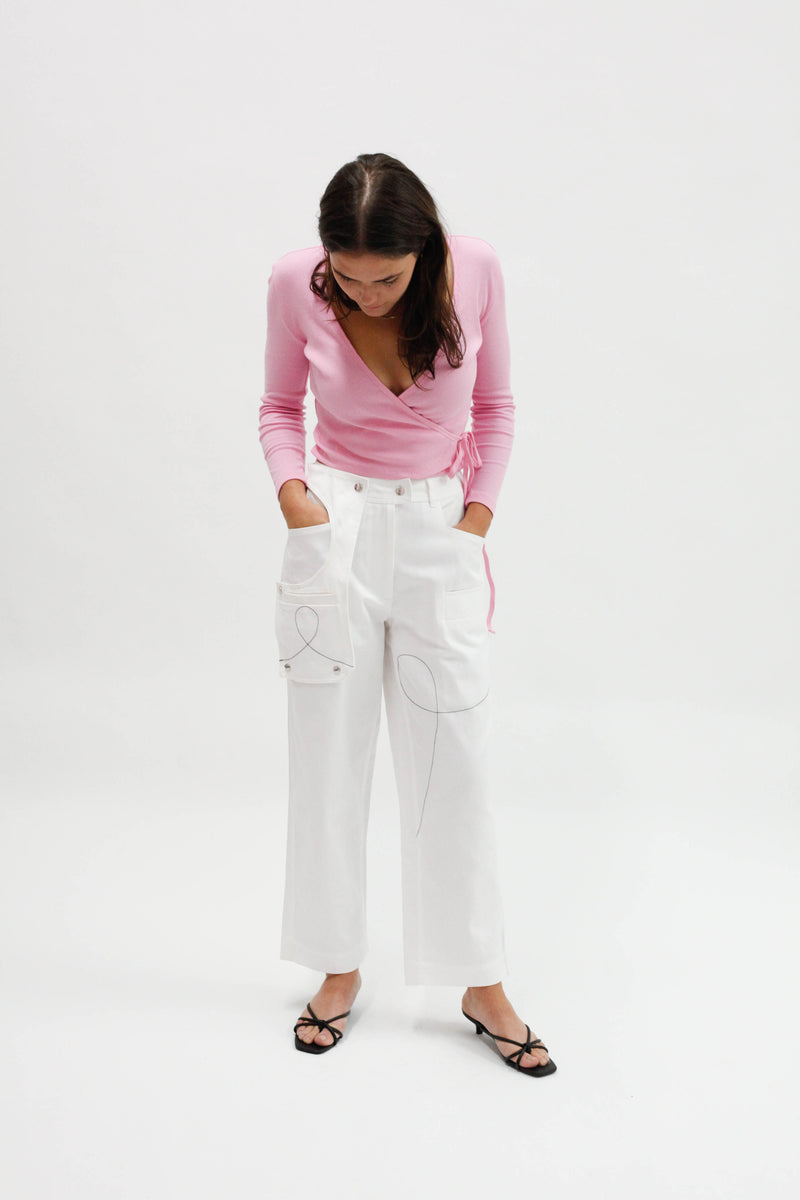 Cargo Twisted Back Pant - Milk