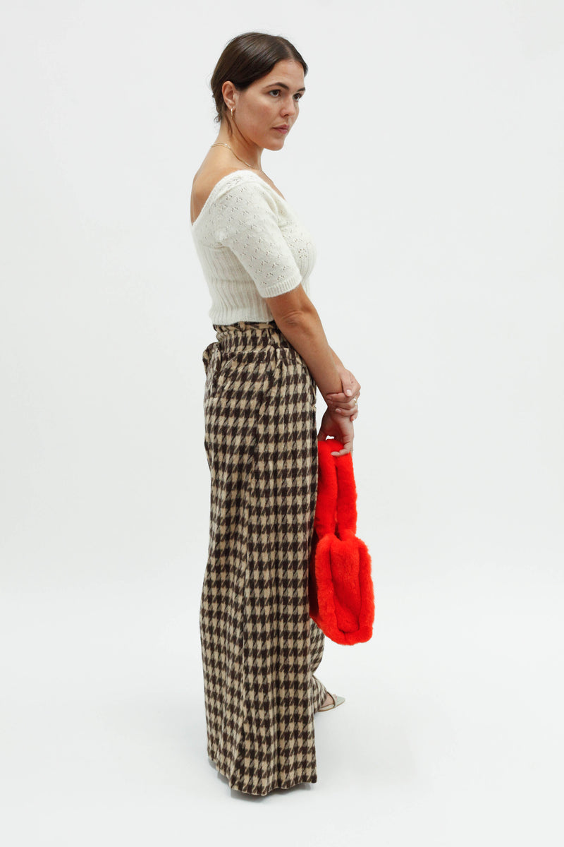 Wide Leg Houndstooth Pant - Rich Mahogany Houndstooth