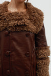 Chocolate Penny Fur Trim Coat - Rich Mahogany