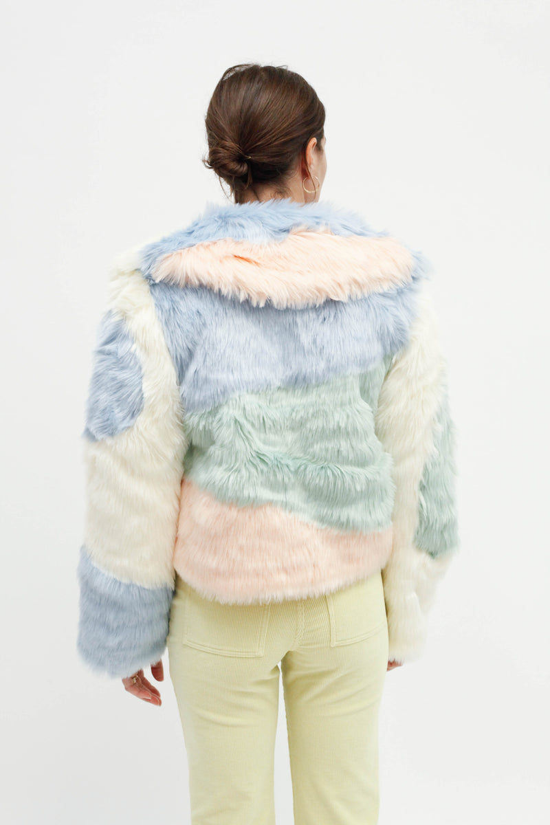 Scandi Patchwork Faux Fur Jacket - Multi
