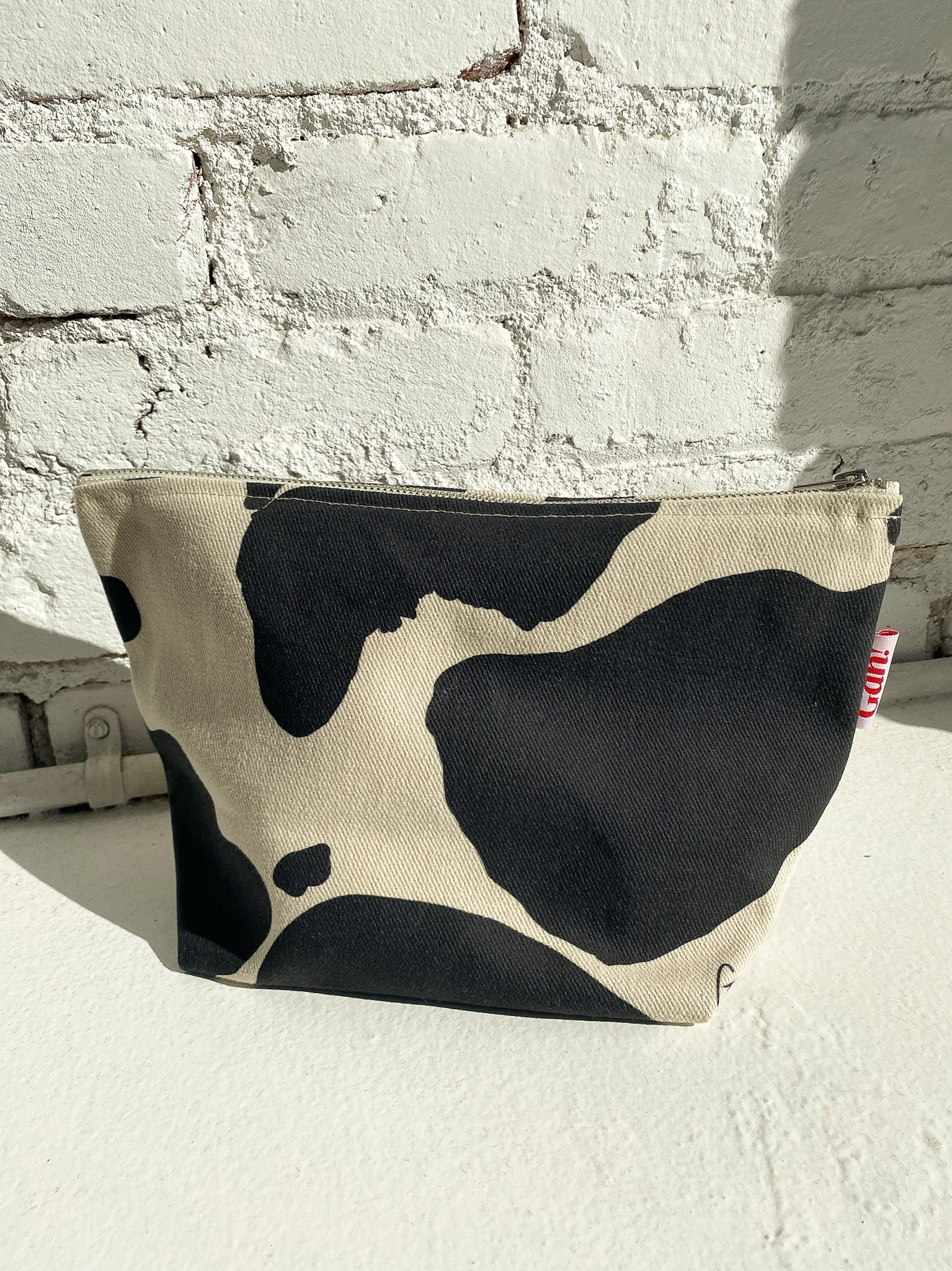 Denim Pouch - Black/Ivory Cow