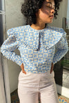 Wendy Long Sleeve Top - Blue Daisy Check