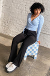 Lucille Wrap Top Long Sleeve - Cornflower Blue Thermal