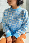Emma Sweater - Blue Daisy Check