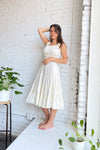Agatha Midi Dress - Ivory Cotton Satin