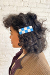 Checker Barrette - White/Blue