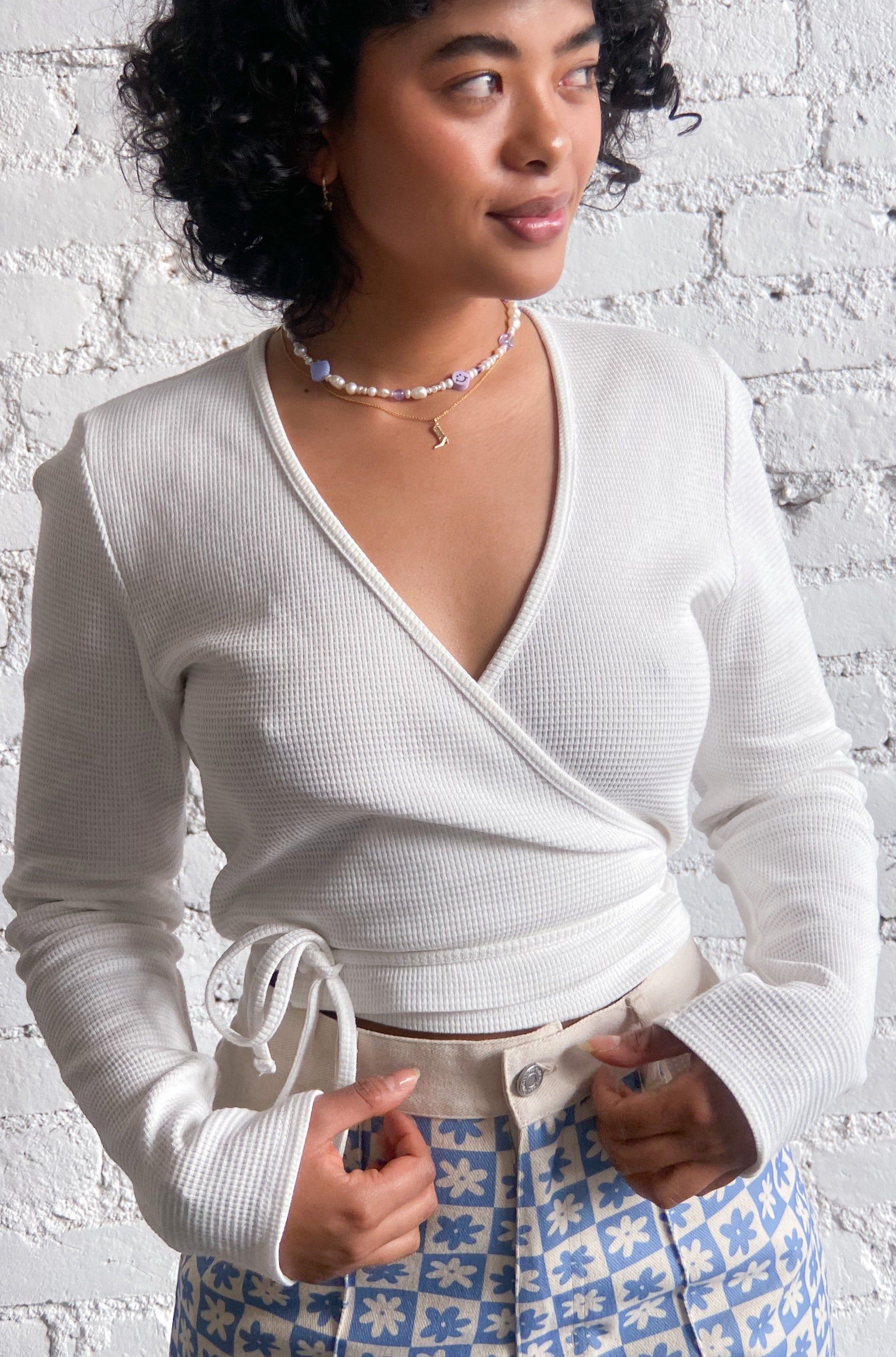 Lucille Wrap Top Long Sleeve - Ivory Thermal