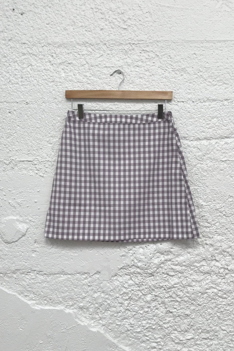 Garden Gingham Skirt - Dusty Lilac & White Gingham