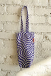 Denim Wine Tote - Purple Warp Check