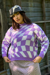 Emma Sweater - Purple Warp Check