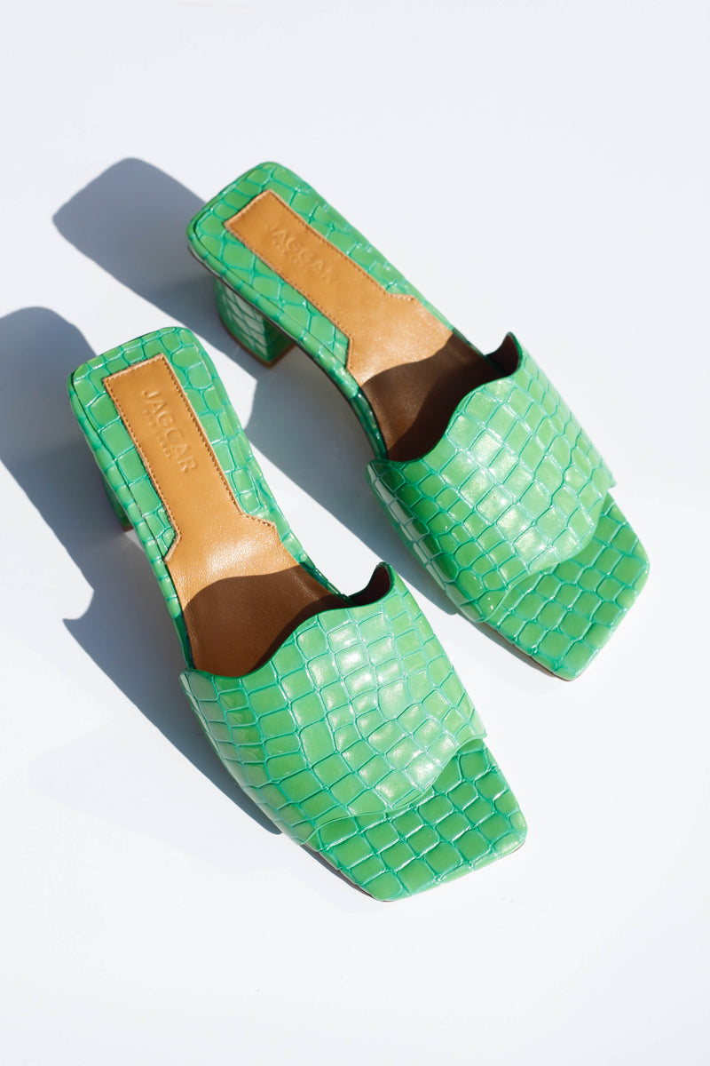 Scallop Croc Heel - Lime Green