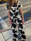 Billie Set - Black/Ivory Cow