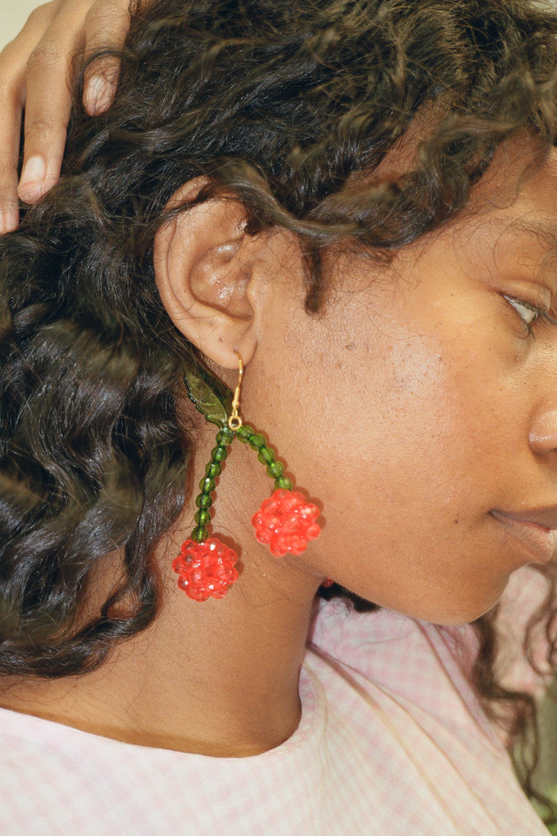Lolita Earrings - Red Cherry