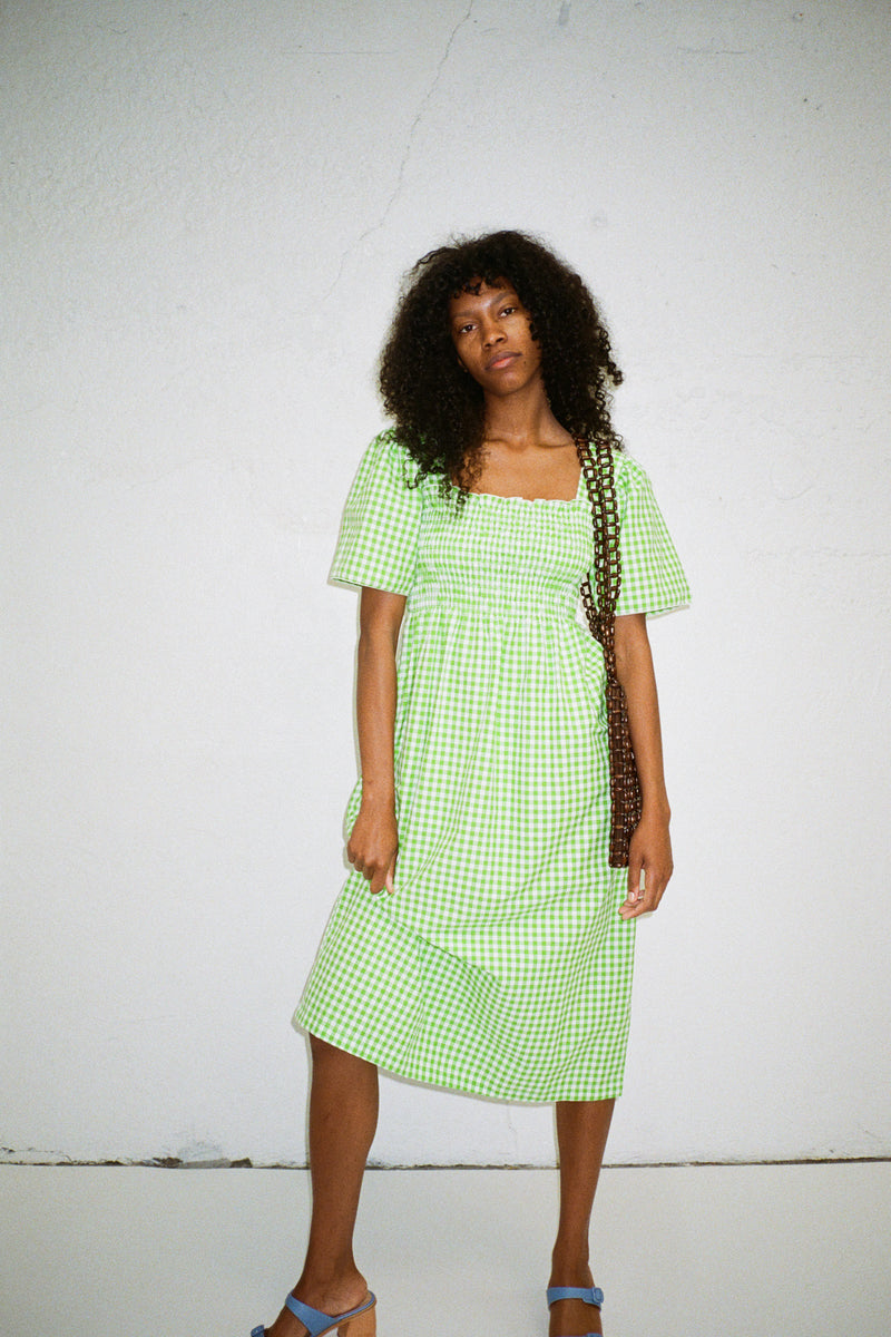 Toni Midi Dress - Lime Gingham