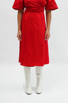 Capri Wrap Skirt - Crimson Cotton Satin