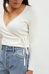 Lucille Wrap Top Long Sleeve - Ivory