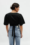 Maria Wrap Top - Black Cotton Satin