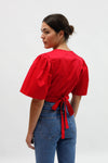 Maria Wrap Top - Crimson Cotton Satin