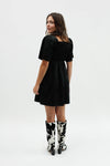 Toni Dress - Black Cotton Satin