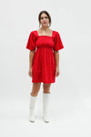 Toni Dress - Crimson Cotton Satin